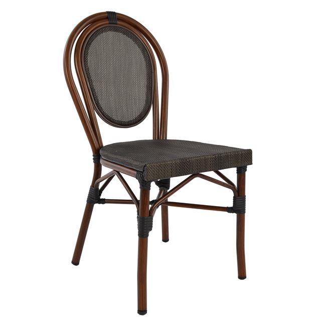 Καρέκλα «BAMBOO LOOK» αλουμινίου-textline σε χρώμα καφέ 40,5×56,5×89,5
