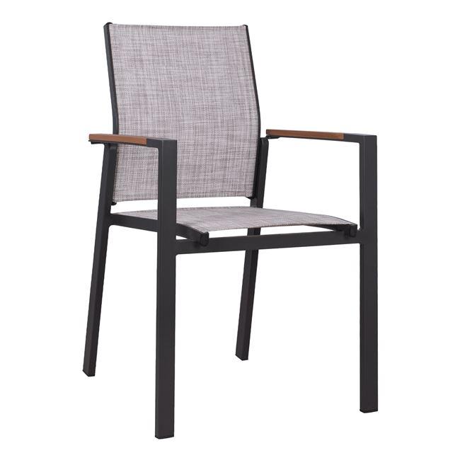 Πολυθρόνα αλουμινίου-textiline σε μαύρο-γκρι χρώμα 56x57x90