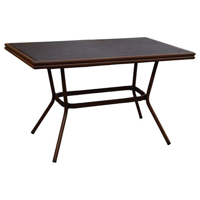 Τραπέζι «BAMBOO LOOK» αλουμινίου σε χρώμα καφέ με γυαλί 150x90x78
