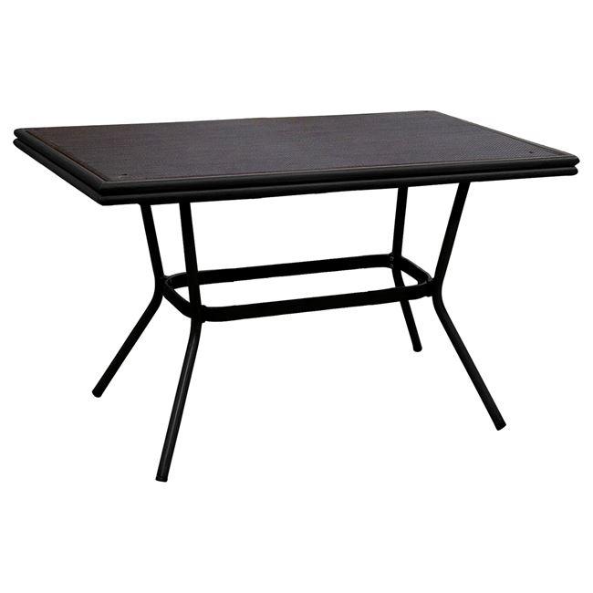 Τραπέζι «BAMBOO LOOK» αλουμινίου σε χρώμα μάυρο με γυαλί 150x90x78