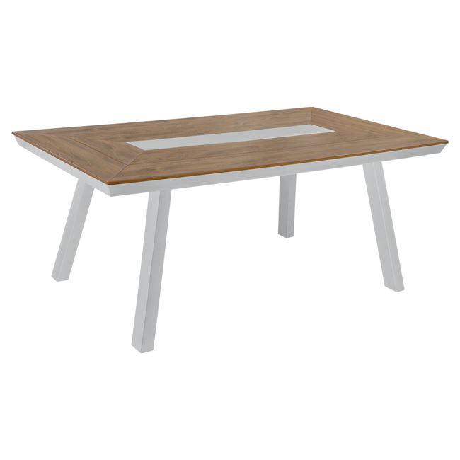 Τραπέζι αλουμινίου με POLYWOOD σε χρώμα λευκό 200x94x75