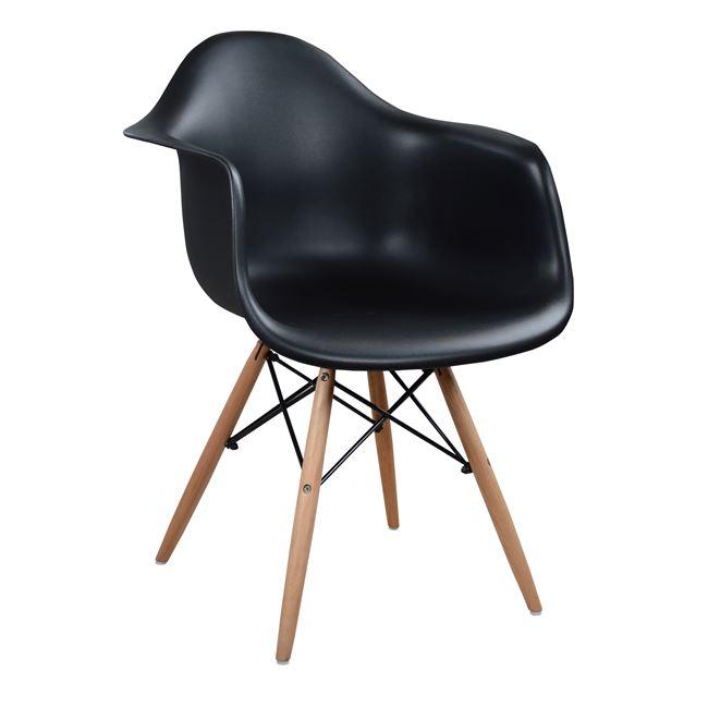 """Πολυθρόνα """"MIRTO"""" ξύλο/PP σε χρώμα μαύρο/φυσικό 64x60x81"""