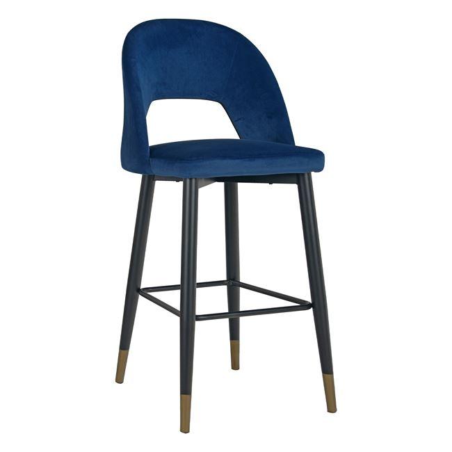 """Σκαμπό μπαρ """"HARPER"""" από μέταλλο/βελούδο σε χρώμα μπλε 50x49x108"""