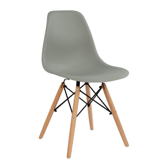 """Καρέκλα """"TWIST"""" από PP/ξύλο σε χρώμα φυσικό/γκρι 46,5x53x82"""