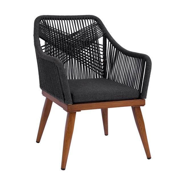 """Πολυθρόνα """"BAMBOO LOOK"""" από αλουμίνιο/σχοινί σε χρώμα γκρι 62x63x90"""