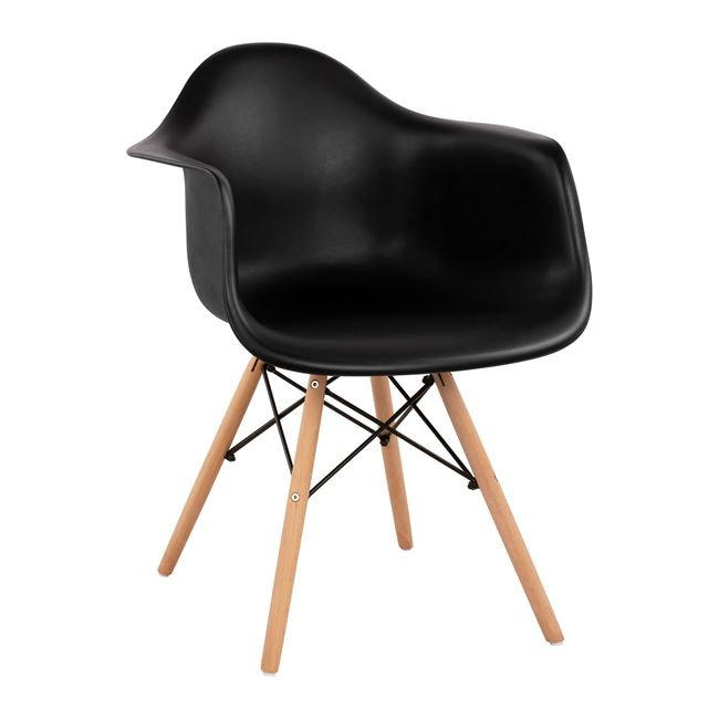 """Πολυθρόνα """"MIRTO"""" από PP/ξύλο σε χρώμα μαύρο/φυσικό 61x60x82"""