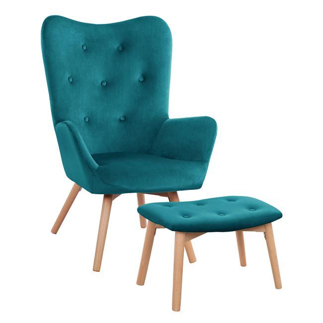 """Σετ πολυθρόνα με υποπόδιο """"ADELYNN"""" από ύφασμα/ξύλο σε χρώμα τιρκουάζ 67x74x97"""