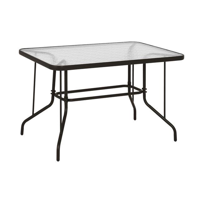 Τραπέζι από μέταλλο/γυαλί σε χρώμα καφέ 120x70x71