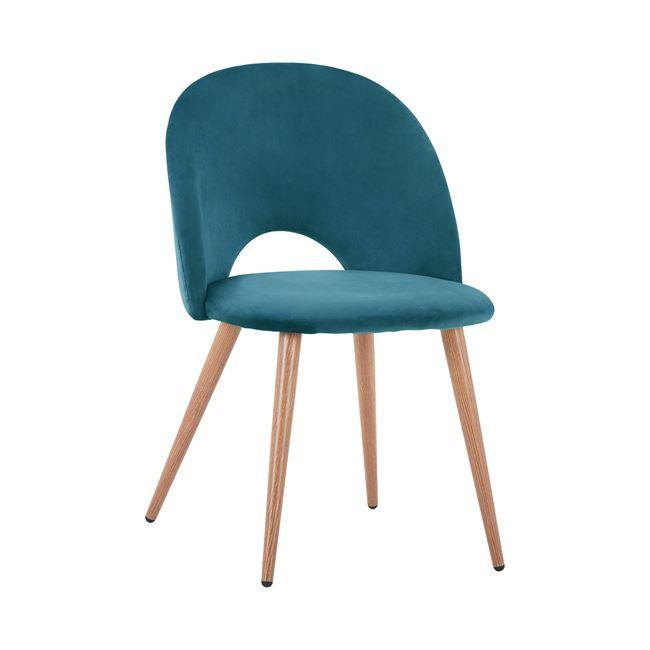 """Καρέκλα """"SADIE"""" από ύφασμα βελούδο/μέταλλο σε χρώμα τιρκουάζ/φυσικό 52×49,5×77"""