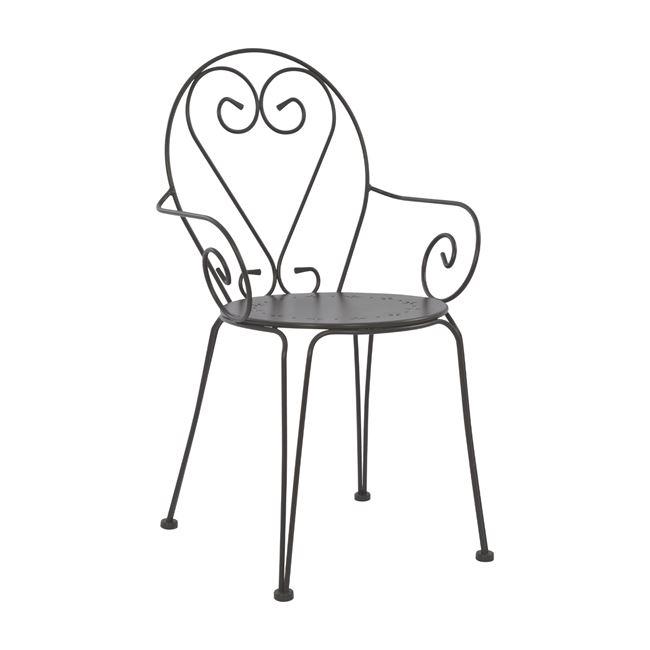 Πολυθρόνα «AMORE» από μέταλλο σε χρώμα ανθρακί 51,5x50x90