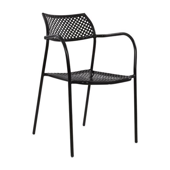 Πολυθρόνα «THETIS» από μέταλλο σε χρώμα μαύρο 55x58x76,5