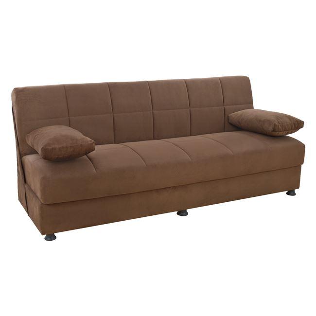 """Καναπές κρεβάτι """"EGE"""" τριθέσιος από ύφασμα σε χρώμα καφέ 194x74x83"""