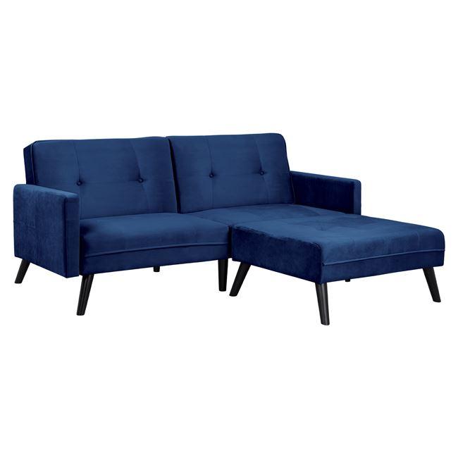 """Καναπές γωνιακός-κρεβάτι """"LIVIA"""" από ύφασμα σε χρώμα μπλε 211x87-158x83"""
