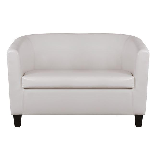 """Καναπές διθέσιος """"PIERRE"""" από τεχνόδερμα σε χρώμα λευκό 121x74x79"""