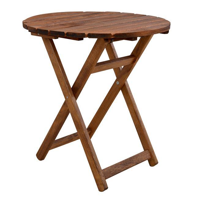 """Τραπέζι """"ΝΑΞΟΣ"""" από ξύλο μασίφ σε χρώμα καρυδί Φ70×75"""