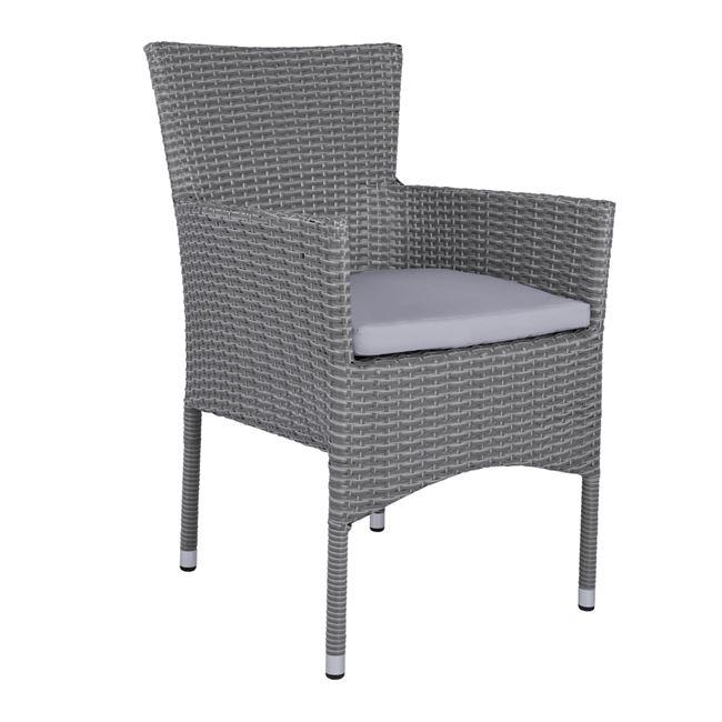 Πολυθρόνα με μαξιλάρι στοιβαζόμενη από μέταλλο/wicker σε χρώμα γκρι 58x59x84
