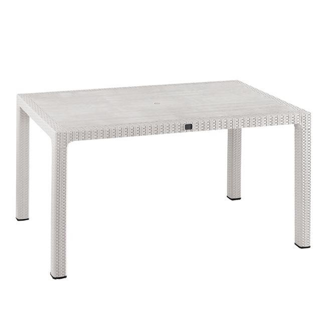 Τραπέζι εξωτερικού χώρου από PP/rattan σε χρώμα λευκό 150x90x73,5