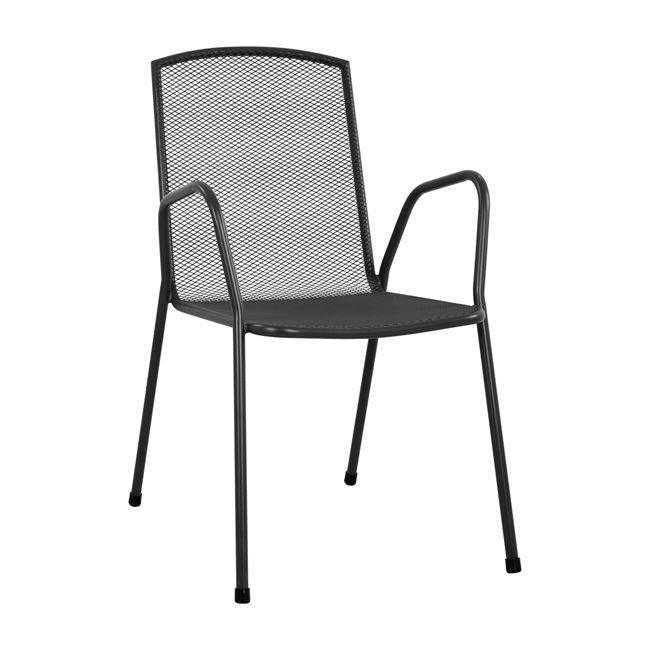 Πολυθρόνα εξωτερικού χώρου από μέταλλο σε χρώμα ανθρακί 54x62x89