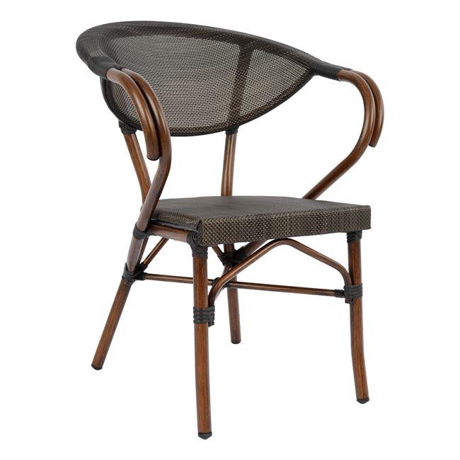 """Πολυθρόνα """"BAMBOO LOOK"""" από αλουμίνιο/ύφασμα σε χρώμα καφέ 60,5x59x81"""