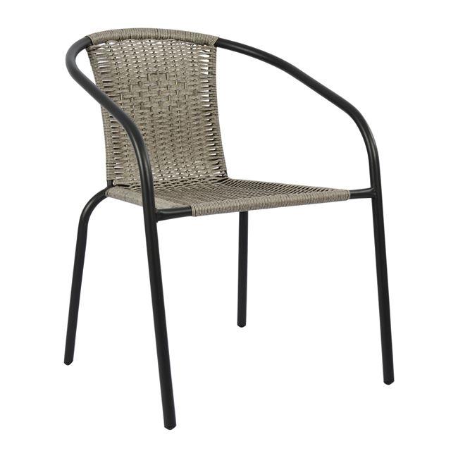"""Πολυθρόνα """"CAMEL """" από μέταλλο/wicker σε χρώμα γκρι 49,5x50x70"""