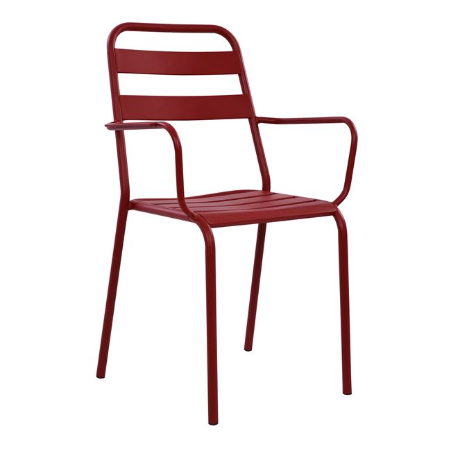 """Πολυθρόνα """"JASON"""" εξωτερικού χώρου από μέταλλο σε χρώμα μπορντώ 55x50x86"""