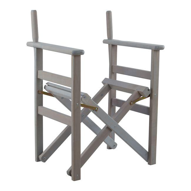 """Πολυθρόνα σκηνοθέτη """"ΝΑΞΟΣ """" από ξύλο σε χρώμα γκρι 59x48x85"""