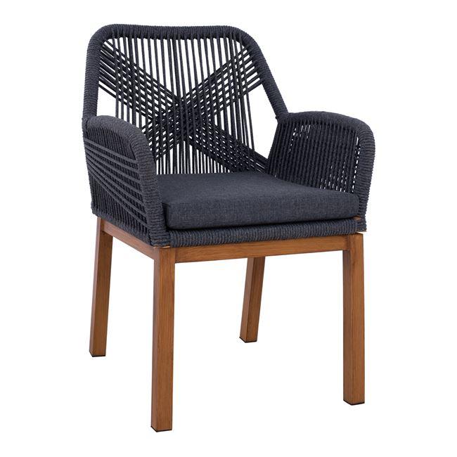 """Πολυθρόνα """"BAMBOO LOOK"""" από αλουμίνιο/ύφασμα σε χρώμα γκρι 58x60x85"""