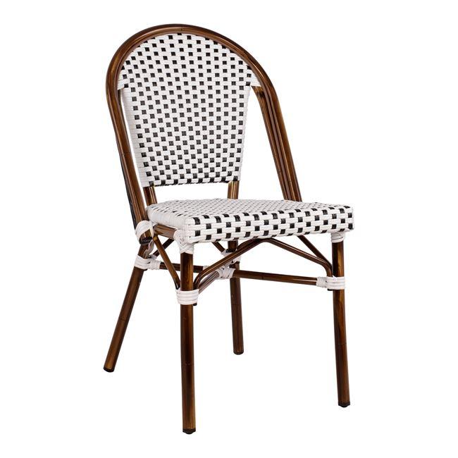 """Καρέκλα """"BISTRO"""" από αλουμίνιο/wicker σε χρώμα λευκό/καφέ 45x54x90"""