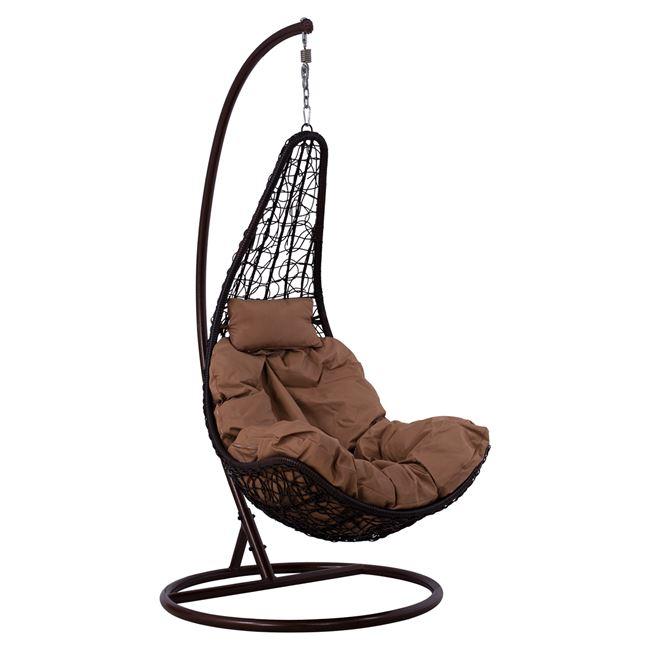 Κρεμαστή πολυθρόνα από μέταλλο/wicker σε χρώμα καφέ Φ95×193