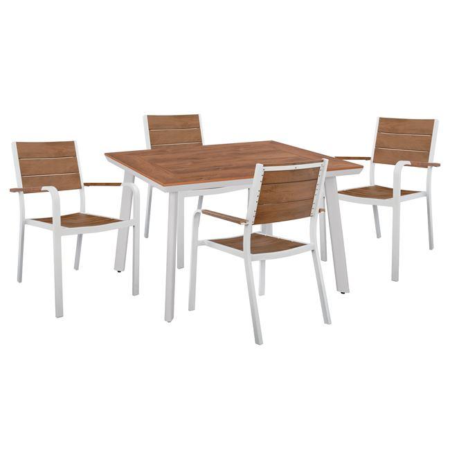 Σετ τραπεζαρίας 5 τμχ αλουμινίου/polywood σε χρώμα λευκό 120x80x72,5
