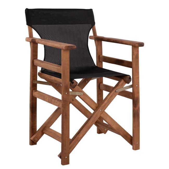 """Πολυθρόνα σκηνοθέτη """"ΛΗΜΝΟΣ"""" από ξύλο/textilene σε χρώμα μαύρο 57x54x88,5"""
