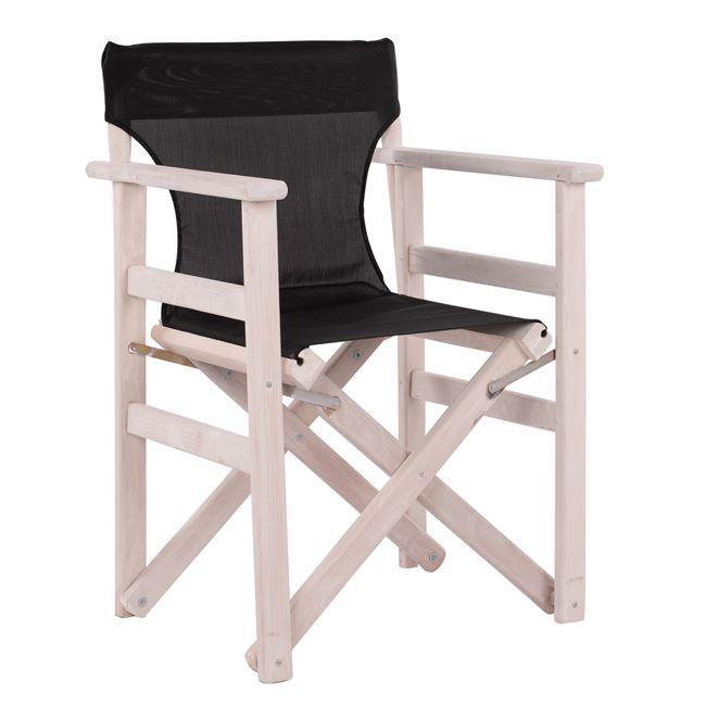 """Πολυθρόνα σκηνοθέτη """"ΝΑΞΟΣ"""" από ξύλο/ύφασμα σε χρώμα λευκό/μαύρο 60x51x84"""