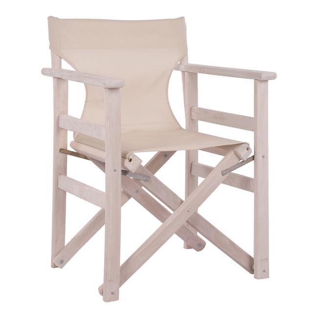 """Πολυθρόνα σκηνοθέτη """"ΝΑΞΟΣ"""" από ξύλο/ύφασμα σε χρώμα λευκό/εκρού 60x51x84"""