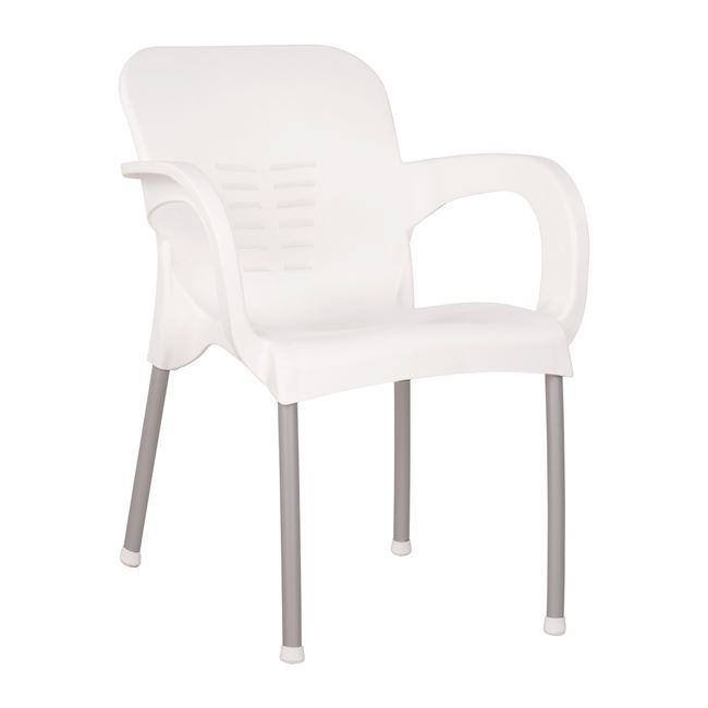 Πολυθρόνα κήπου πολυπροπυλενίου/αλουμινίου σε χρώμα λευκό 59x58x81