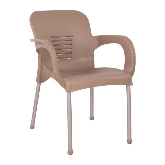 Πολυθρόνα κήπου πολυπροπυλενίου/αλουμινίου σε χρώμα cappuccino 59x58x81