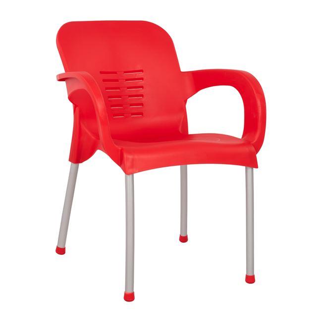 Πολυθρόνα κήπου πολυπροπυλενίου/αλουμινίου σε χρώμα κόκκινο 59x58x81