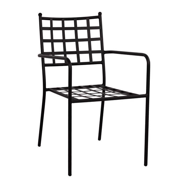Πολυθρόνα μεταλλική σε χρώμα μαύρο 53x57x88