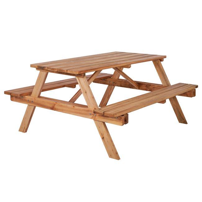 Σετ τραπέζι με παγκάκια από ξύλο σε χρώμα φυσικό 150x148x76