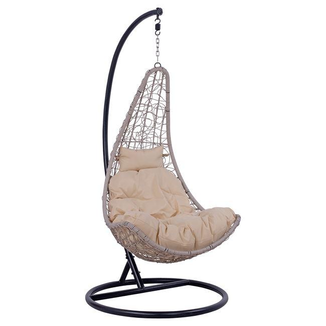 Κρεμαστή πολυθρόνα από μέταλλο/wicker σε χρώμα μαύρο/γκρι Φ95×193