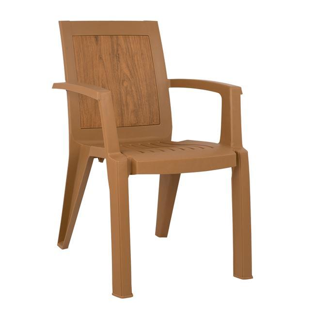 Πολυθρόνα πολυπροπυλενίου σε χρώμα μπεζ με design ξύλου 59x59x88