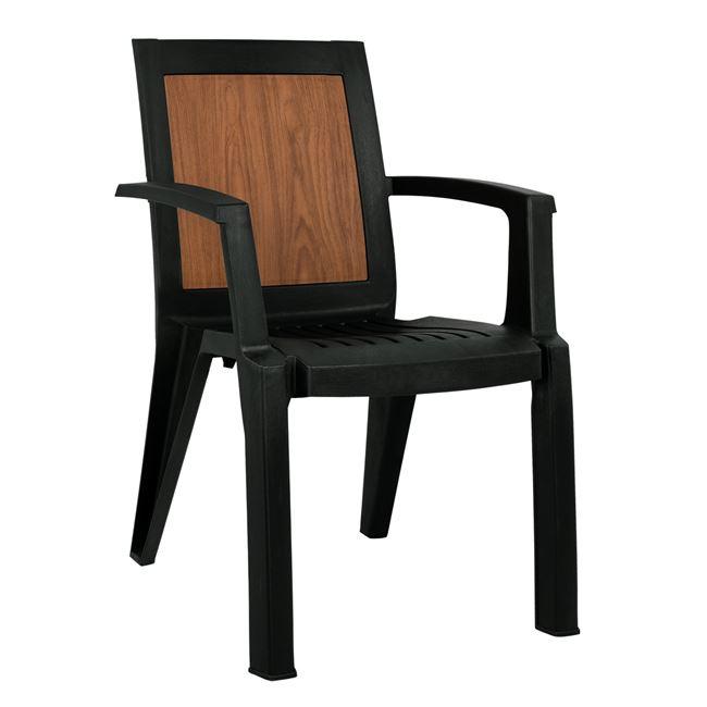 Πολυθρόνα πολυπροπυλενίου σε χρώμα κυπαρισσί με design ξύλου 59x59x88