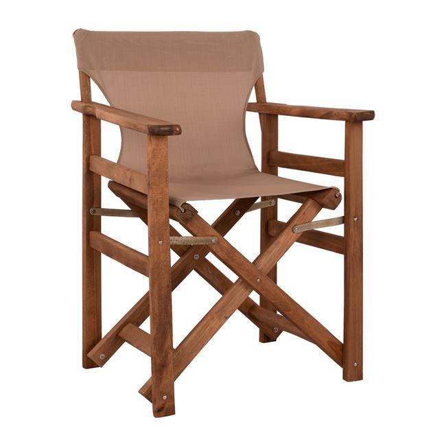 """Πολυθρόνα σκηνοθέτη """"ΛΗΜΝΟΣ"""" από ξύλο/textilene σε χρώμα μόκα 57x54x88,5"""