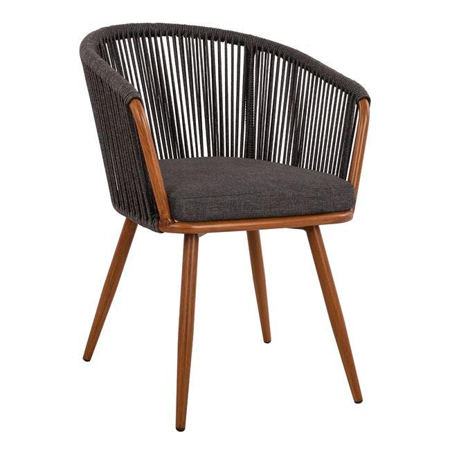 """Πολυθρόνα """"BAMBOO LOOK"""" από αλουμίνιο/ύφασμα σε χρώμα γκρι 60X62X81"""