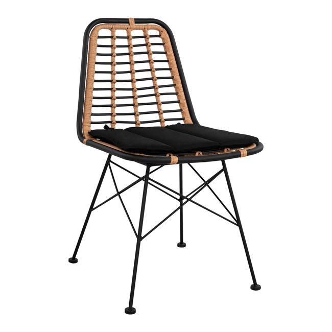 """Καρέκλα """"ALLEGRA"""" μεταλλική-wicker σε μαύρο-μπεζ χρώμα 46x59x83"""