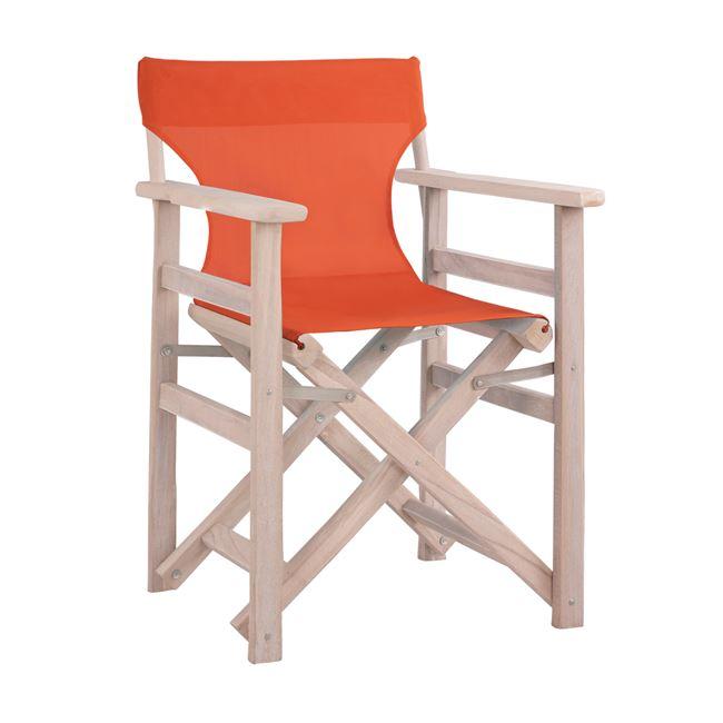 """Καρέκλα σκηνοθέτη """"ΛΗΜΝΟΣ"""" σε χρώμα λευκή πατίνα-αντικέ pvc σε χρώμα πορτοκαλί 57x54x88,5"""
