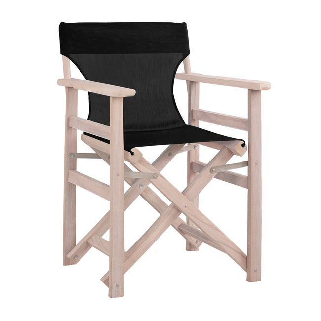 """Καρέκλα σκηνοθέτη """"ΛΗΜΝΟΣ"""" σε χρώμα λευκή πατίνα-αντικέ pvc σε χρώμα μαύρο 57x54x88,5"""