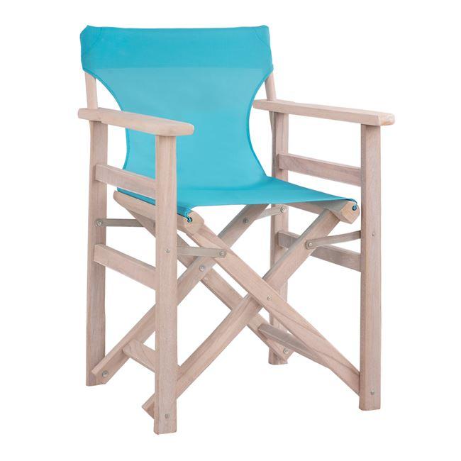"""Καρέκλα σκηνοθέτη """"ΛΗΜΝΟΣ"""" σε χρώμα λευκή πατίνα-αντικέ pvc σε χρώμα γαλάζιο 57x54x88,5"""