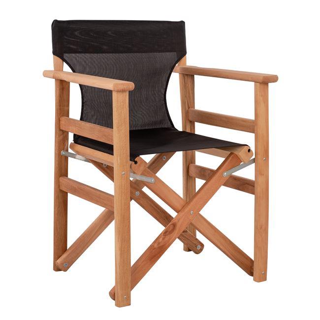 """Πολυθρόνα σκηνοθέτη """"ΝΑΞΟΣ """" σε χρώμα φυσικό με μαύρο pvc 60x51x84"""