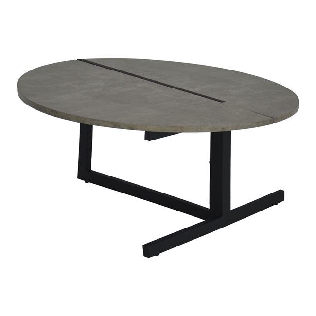 Τραπέζι σαλονιου από mdf/μέταλλο σε χρώμα τσιμέντου/μαύρο Φ80x43