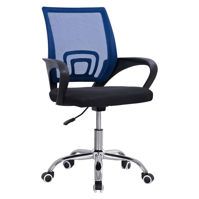 """Πολυθρόνα γραφείου """"BRISTONE"""" από ύφασμα mesh/μέταλλο σε χρώμα μπλε/μαύρο 60x51x95"""